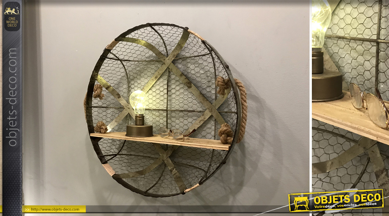 Etagère circulaire en métal, bois de sapin, corde et fond grillagé cage à poule, de style rustique, Ø50cm