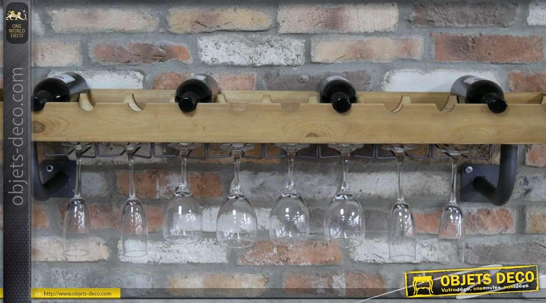 Grande étagère porte verres et bouteilles, en bois de sapin massif finition clair, esprit industriel / bodega moderne, 120cm