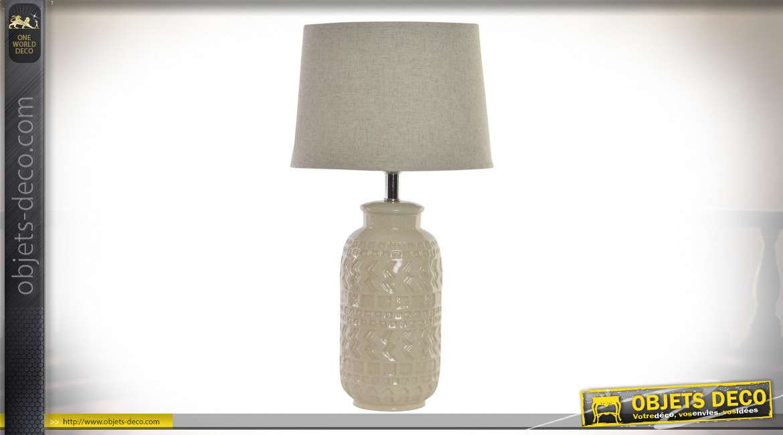 LAMPE DE TABLE PORCELAINE 33X33X62 AFRICAIN