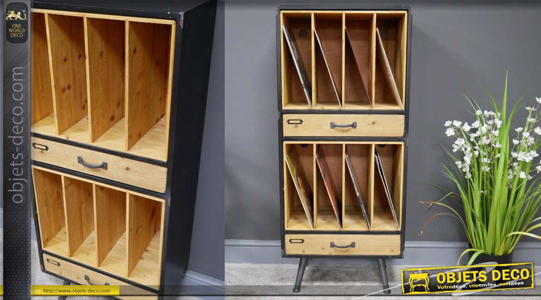 Meuble de rangement de style industriel en bois de sapin et en métal, 8 compartiments et 2 tiroirs, finition vieux noir, 116cm