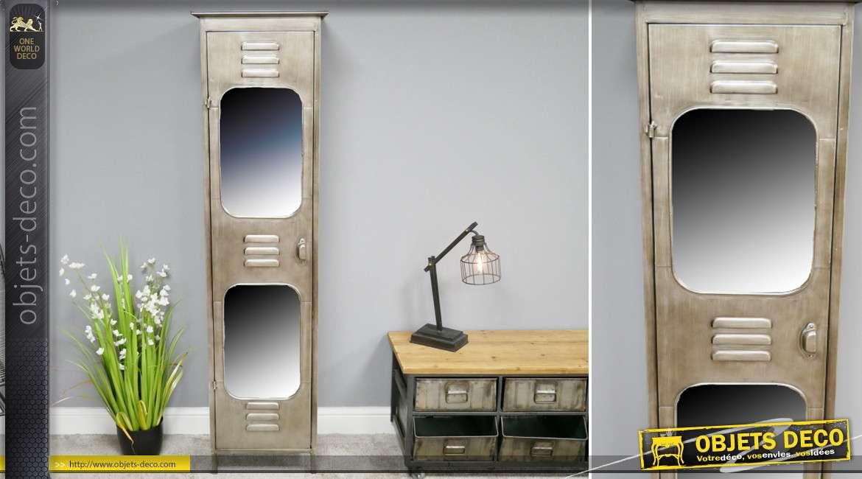 Meuble de rangement en colonne, esprit vieux vestiaire industriel en métal, 2 miroirs en façade, 169 cm de haut