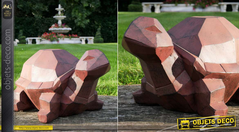 Belle tortue de jardin finition brun foncé, version origami géométrique, patine effet vieilli, 53cm