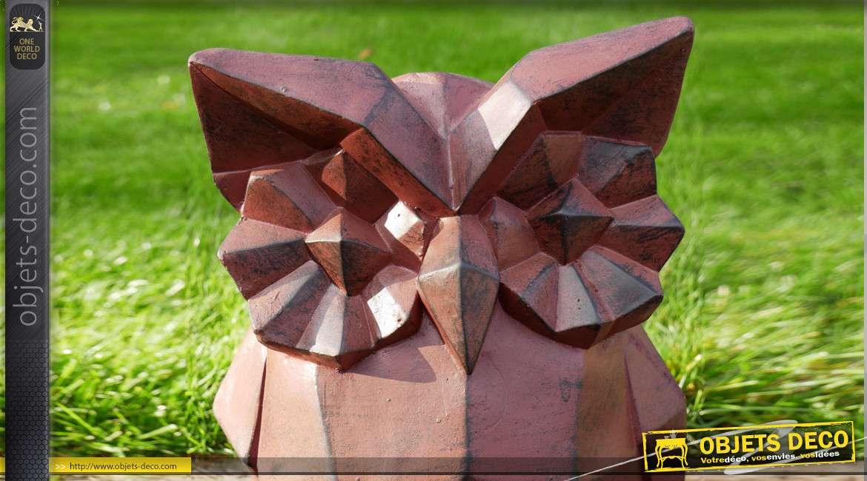 Statue de chouette composite effet pierre, finition brun foncé avec reflets noir, collection origami, 41cm