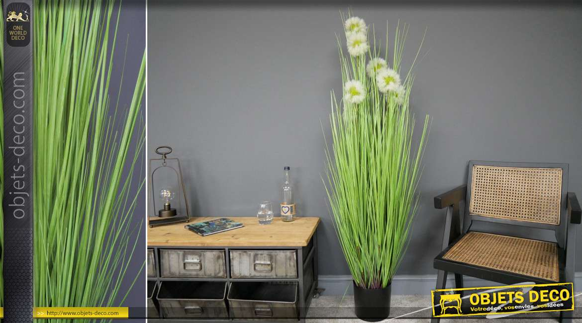 Grand Taraxacum officinal en pvc de 150 cm de haut avec pot en finition noir mate