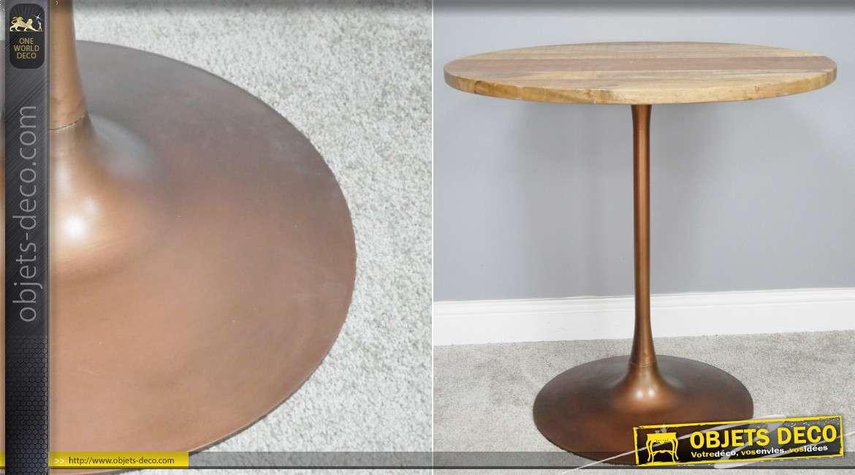 Table ronde en bois de manguier massif et pied en métal finition cuivré brillant, de style rétro, Ø75cm