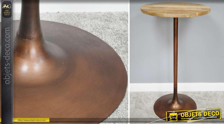 Table de bar haute de style moderne, plateau en bois de manguier massif et base en métal finition cuivre, 110cm de haut