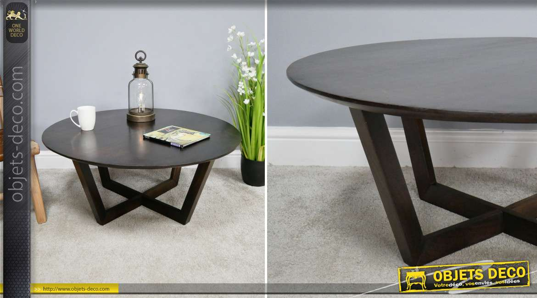 Grande table basse en bois de manguier massif, teintée finition noyer foncé, pieds croisés, Ø91cm