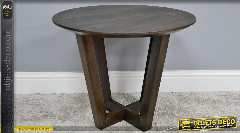 Table d'appoint en bois de manguier massif, finition noyer foncé et veinage apparent, Ø55cm