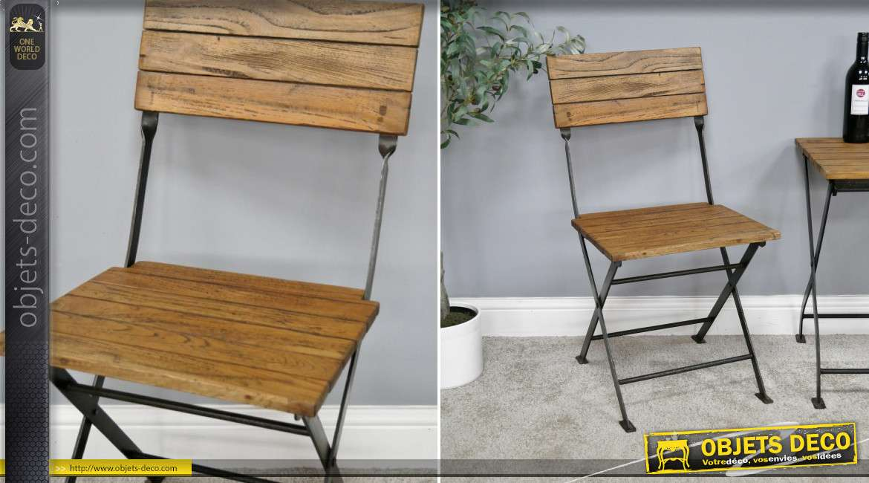 Chaise de terrasse en métal noir et bois de manguier massif, style moderne esprit rustique, 81cm