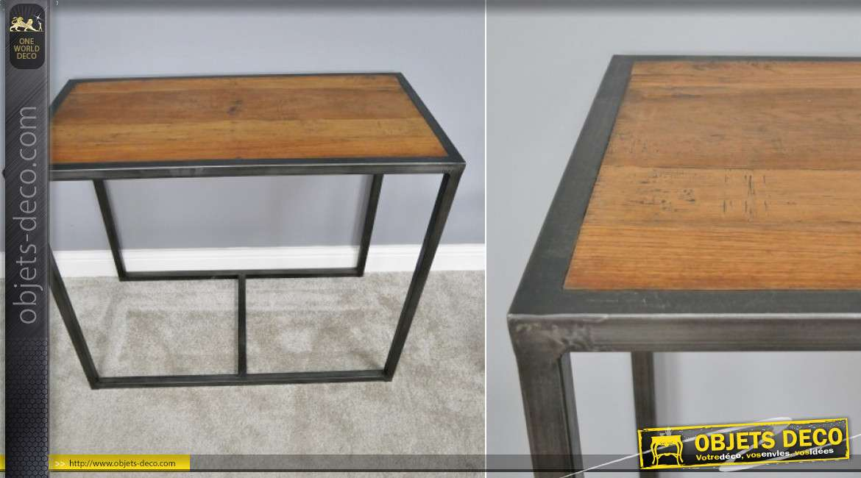 Ensemble d'une table et de deux chaises en bois de manguier vieilli et métal noir, solution gain de place, de style indus, 77cm