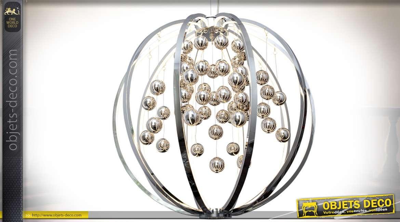 Suspension sphérique design avec nuée de boules argentées éclairantes Ø 40 cm