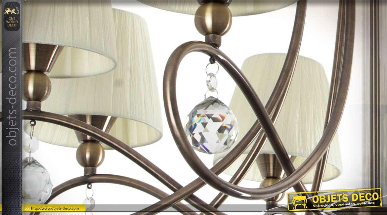 Lustre design métal finition bronze cuivré 8 bras abat-jour plissés Ø 80 cm