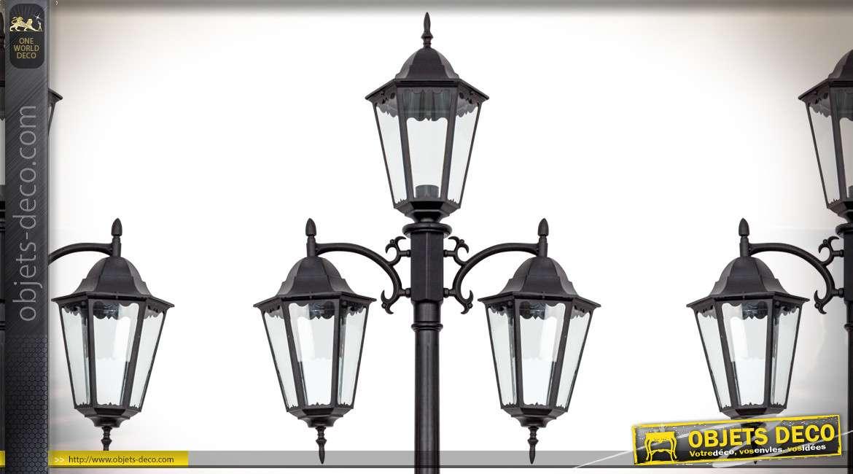 Grand réverbère en aluminium finition noir avec 3 lanternes d'éclairage 2,3 mètres