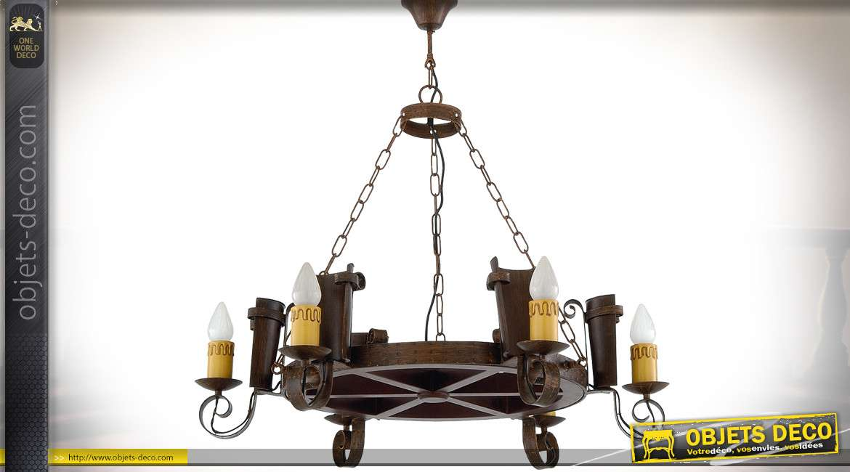 Suspension en forme d'ancienne roue en bois avec 6 appliques latérales rustiques Ø 85 cm