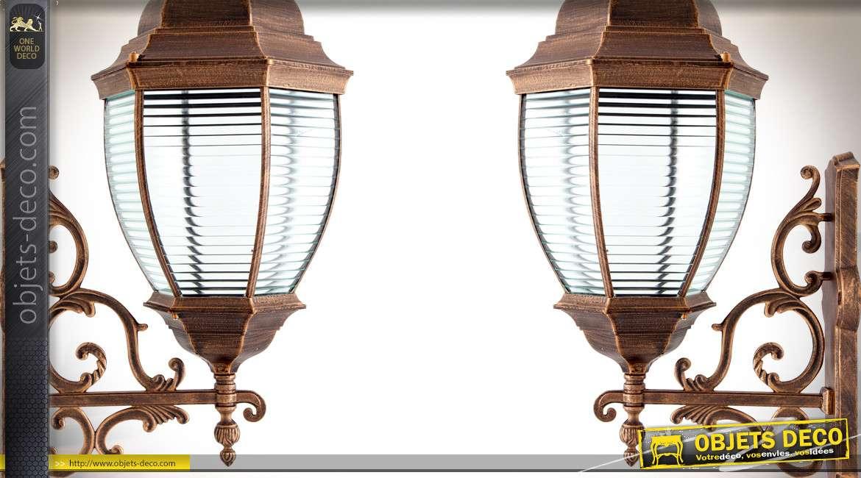 Grande applique extérieure en forme de lanterne hexagonale finition bronze cuivré 74 cm