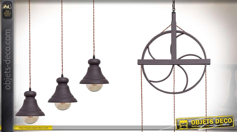 Suspension roue de poulie ancienne en métal avec trois réflecteurs suspendus 200 cm