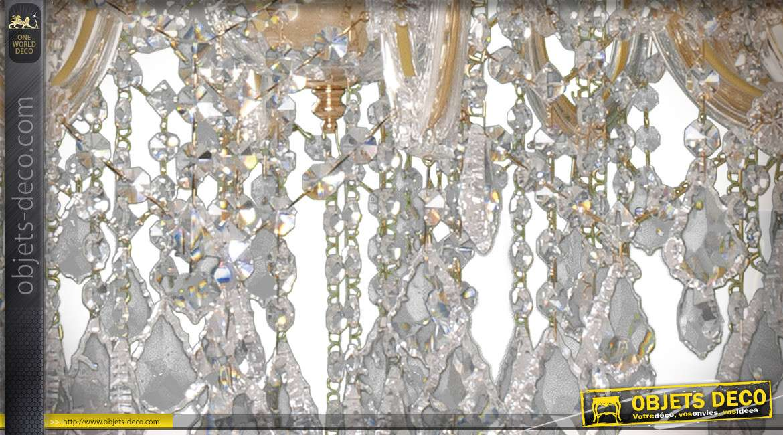 Lustre à pampilles Maria Teresa 15 feux style néobaroque en métal et verre Ø 85 cm