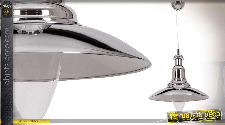 Suspension vintage en aluminium chromé brillant Ø 35 cm