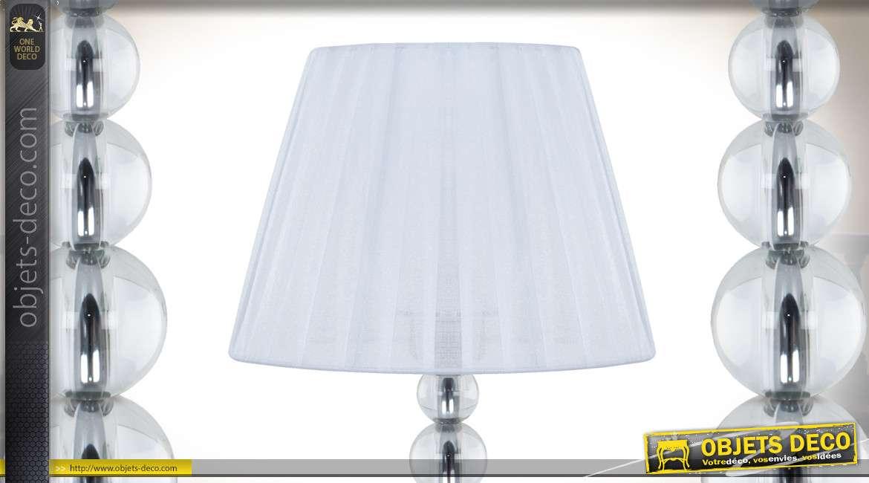 Lampe de chevet design en métal chromé verre et tissu plissé blanc 50 cm