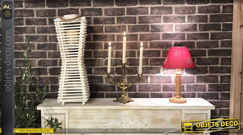 Lanterne originale en bois finition blanc et grande anse en corde, forme pyramidale esprit asiatique, 59cm