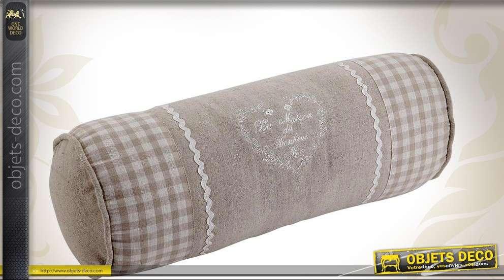 coussin traversin personnel gris et blanc en coton. Black Bedroom Furniture Sets. Home Design Ideas