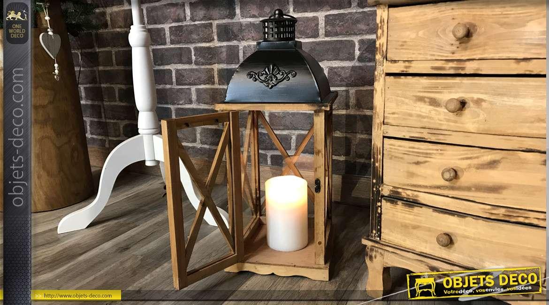 Série de deux lanternes en bois et métal, style chalet alpin finition naturel et effet brulé, tiroirs de rangements, 120cm