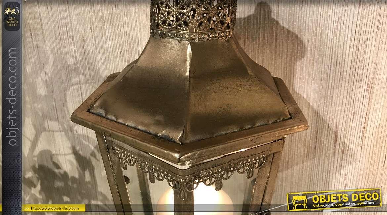 Lanterne en métal style ancien éclairage de ville, finition doré effet vieilli, 68cm de hauteur finale