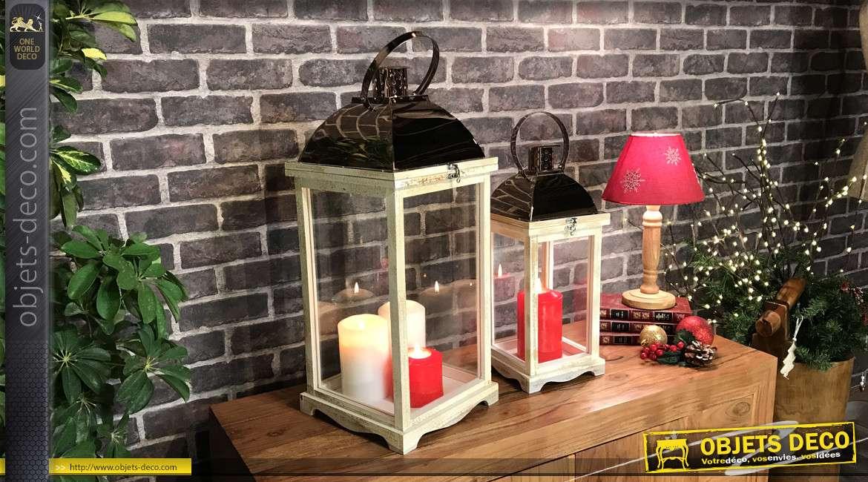 Série de deux lanternes en bois finition blanchi naturel et métal effet chromé cuivré, style moderne, 62cm