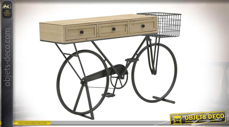 Console en bois de sapin montée sur châssis de vélo finition noir, de style rétro, 3 tiroirs, 145cm