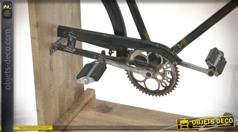 Console en bois de bouleau naturel avec demi vélo en métal finition oxydé esprit vintage; 140cm