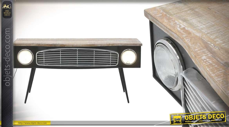 Bureau esprit calandre de voiture en bois de bouleau et métal, phares lumineux, finition noir et naturel, 160cm