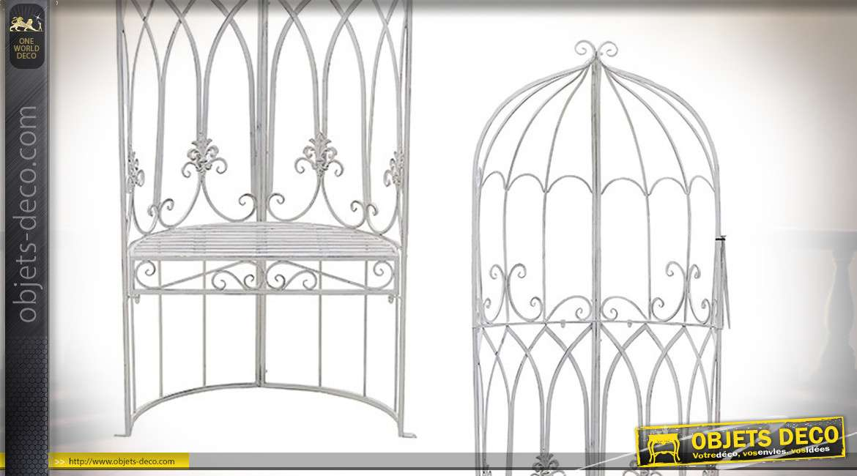 Fateuil de jardin en métal esprit vieux fer forgé, finition blanc, style grande cage à oiseau, 190cm de haut