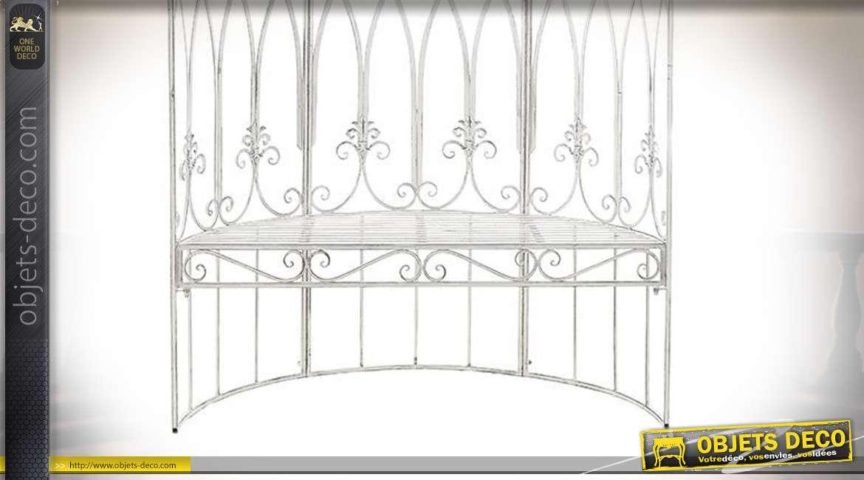 Grand banc de jardin en métal esprit fer forgé finition blanc ancien, style bulle romantique avec motifs de fleurs de lys, 200cm