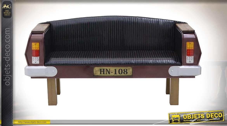 Canapé d'appoint pour 2 personnes, en bois esprit ancien coffre de voiture, assise synthétique et clignotants en pvc, 162cm