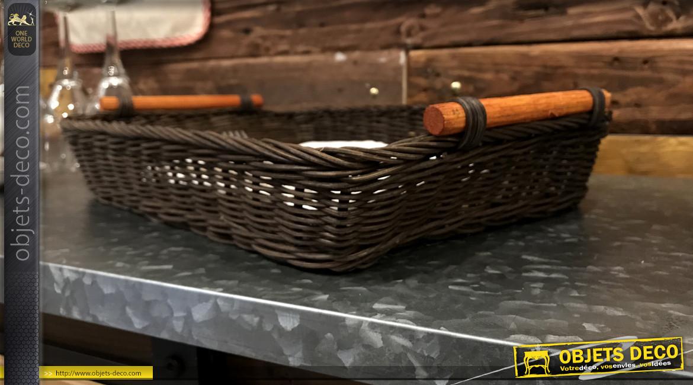 Manne rectangulaire en rotin finition brun foncé et poignées en bois, 36 cm