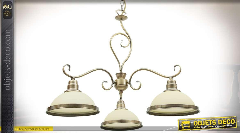 Suspension néo-classique dorée et verre opalin beige 3 points de lumière 56 cm