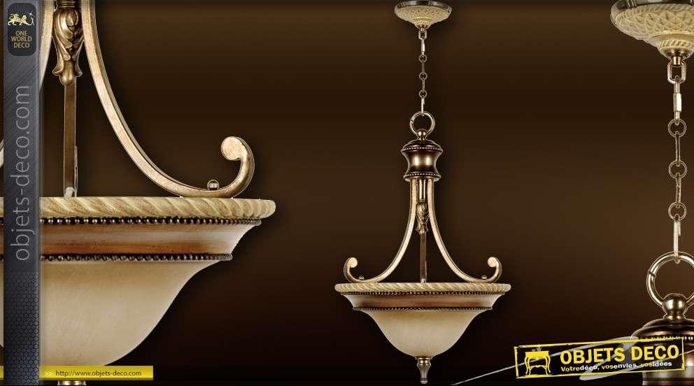 Finition Albâtre Suspension Coupole Et 1900 Bronze Façon Style fYbIgyv76