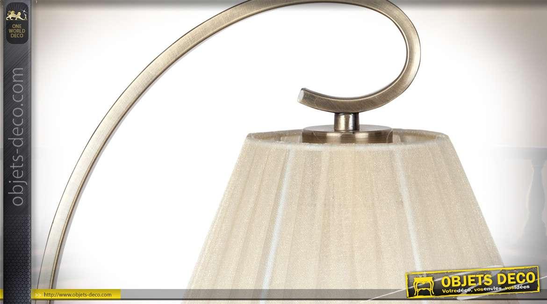 Lampe de chevet de style rétro romantique en métal finition bronze doré et tissu plissé beige clair 42 cm