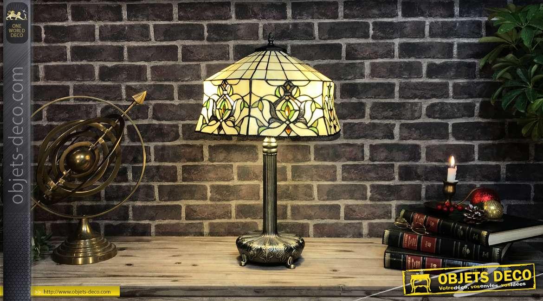 Lampe de style Tiffany, de forme hexagonale, 40cm de diamètre, écru et motifs de plantes grimpantes, 62cm