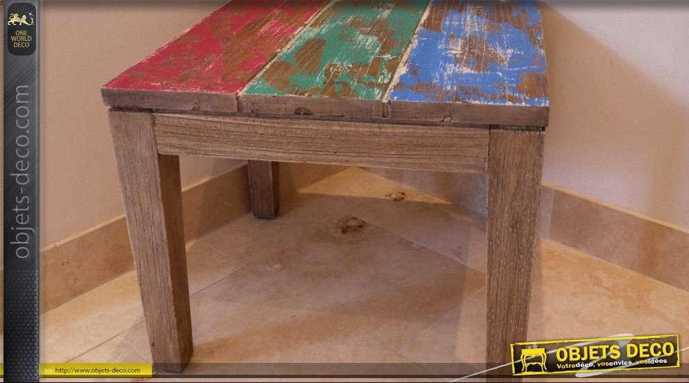 Table basse style brocante multicouleur