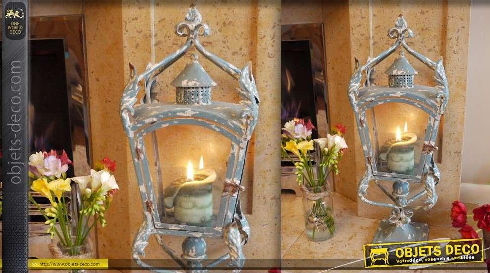 Lanterne vintage sur pied patine bleu antique