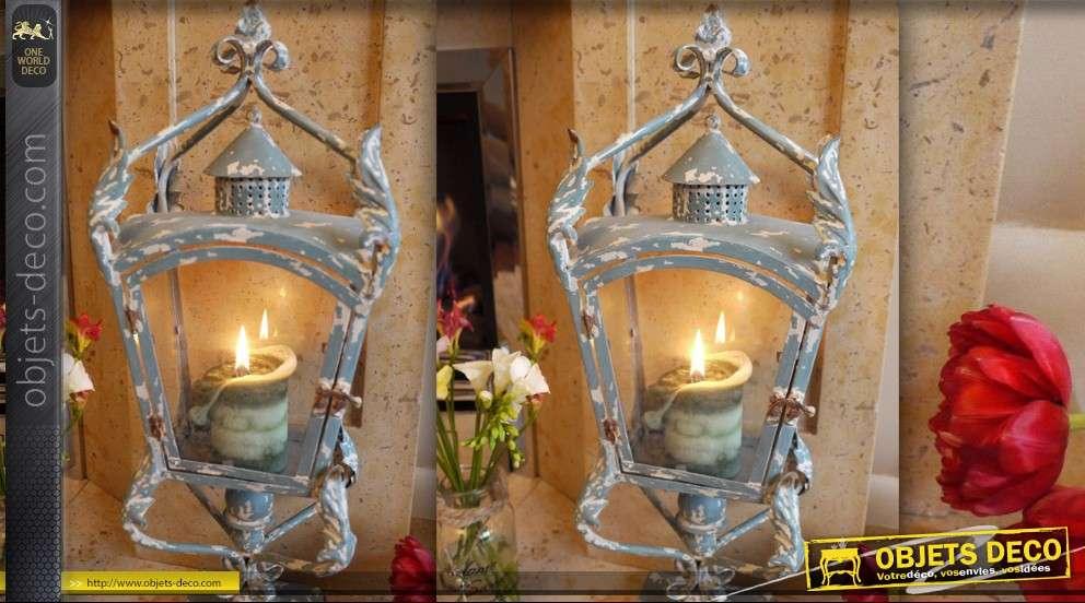 lanterne vintage sur pied patine bleu antique. Black Bedroom Furniture Sets. Home Design Ideas