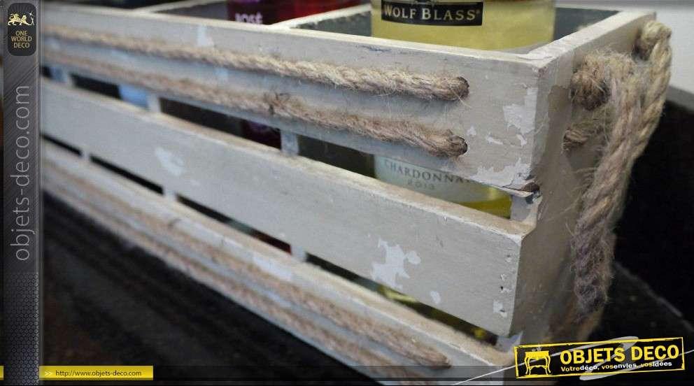 Casier range bouteilles en bois style vintage - Casier a bouteilles en bois ...