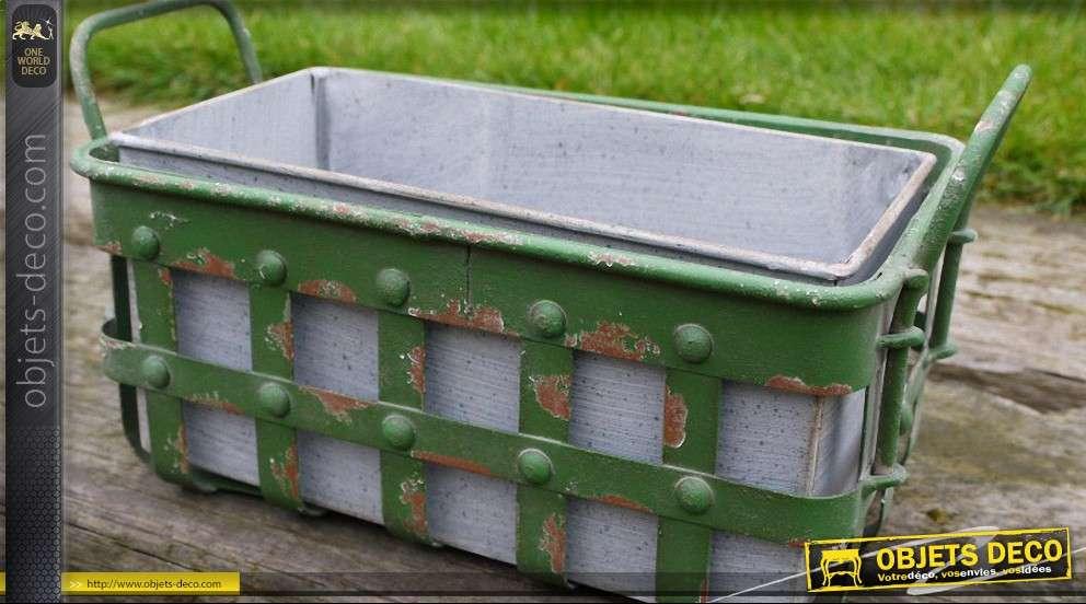 jardini re d corative en m tal style vintage avec bac en zinc. Black Bedroom Furniture Sets. Home Design Ideas