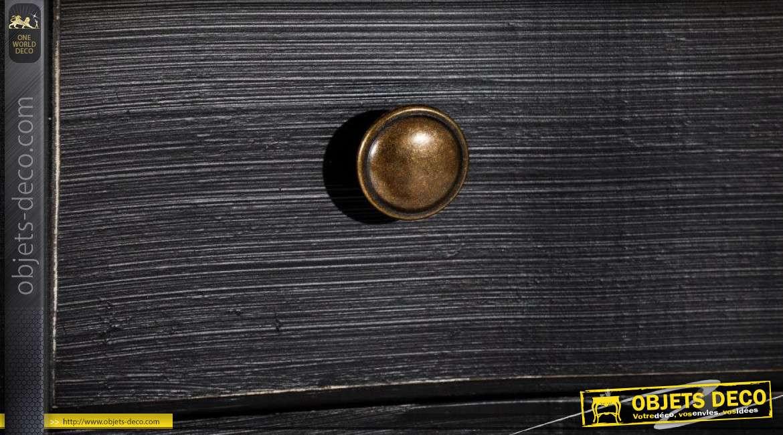 Chiffonnier à 5 tiroirs de style classique patine noire 103 cm