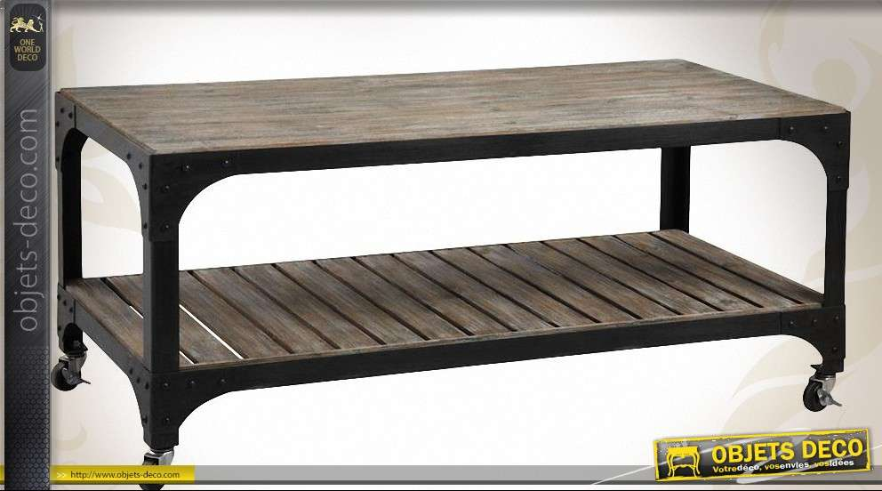 Table En Métal Et Industriel Basse Bois Style LSMUGpjqzV