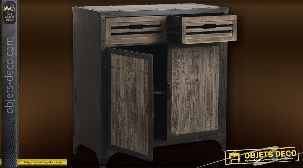 Bahut en métal et bois, 2 tiroirs + 2 portes