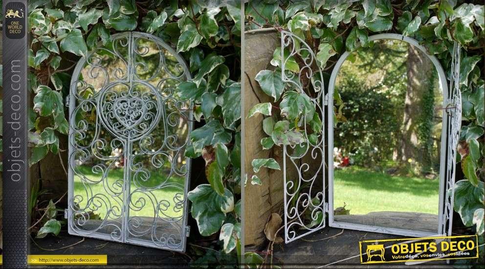 Miroir d co fer forg blanc antique for Miroir en fer forge noir