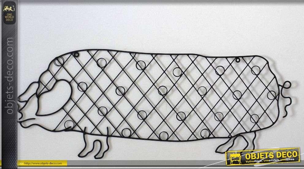 Déco murale cochon porte-cartes postales en métal
