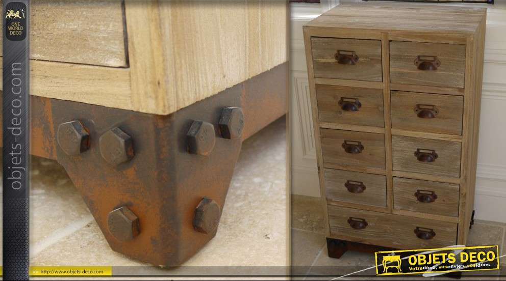 meuble de rangement 9 tiroirs style indus